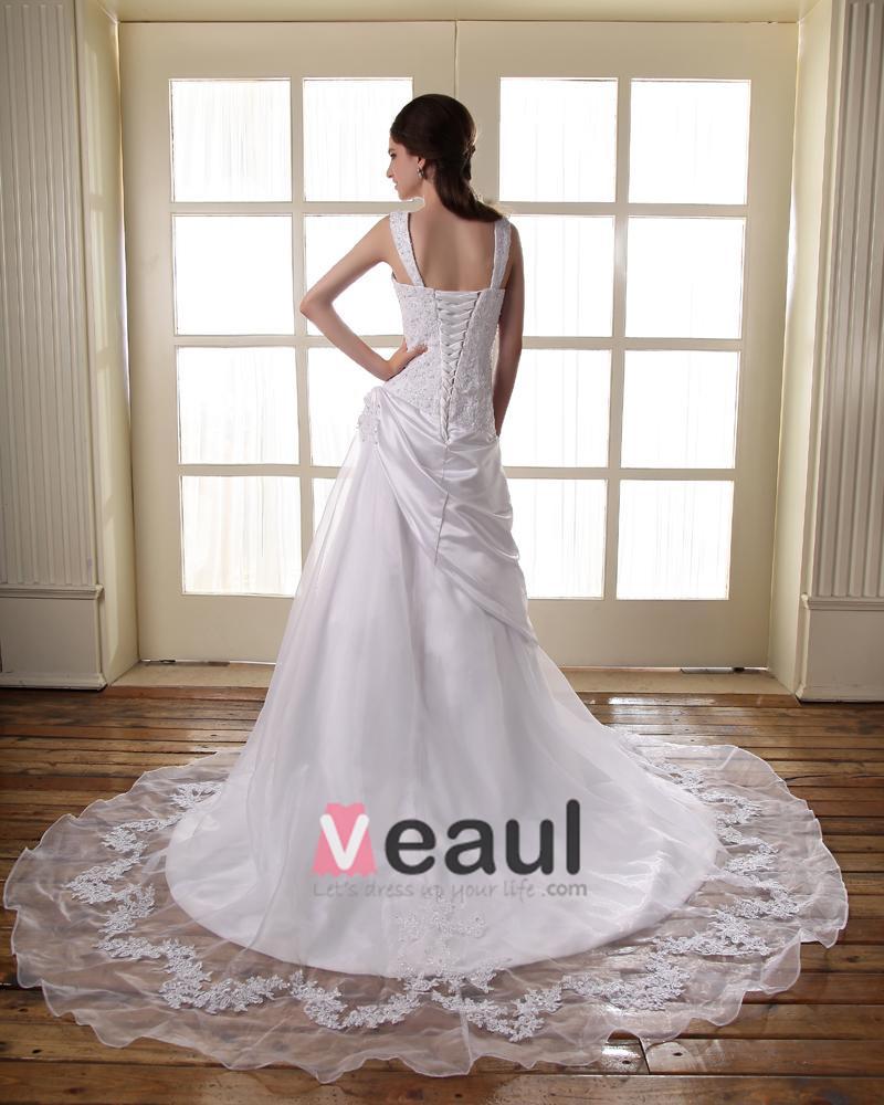 Beaded Satin Lace Shoulder Straps Court A-Line Bridal Gown Wedding Dress