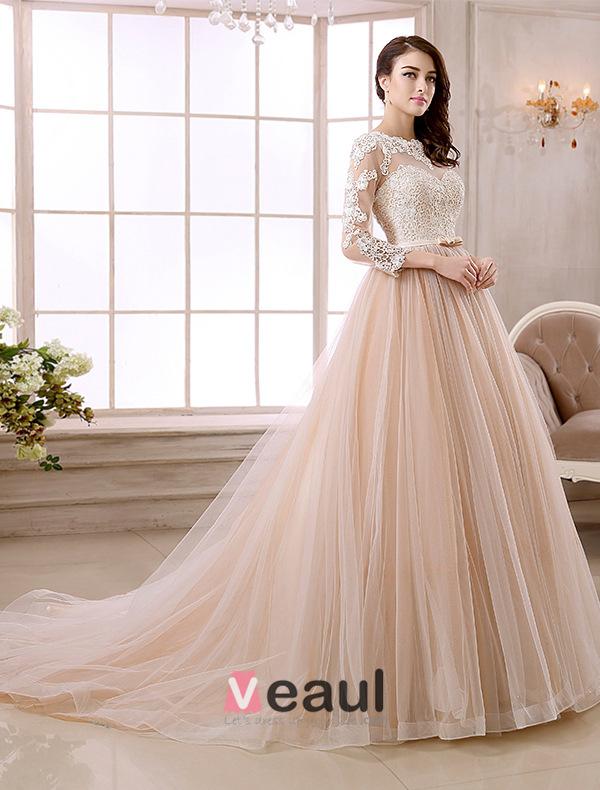 Elegant A-line Lace Neck Pierced Design 3/4 Sleeves Sash Champagne Organza Wedding Dress