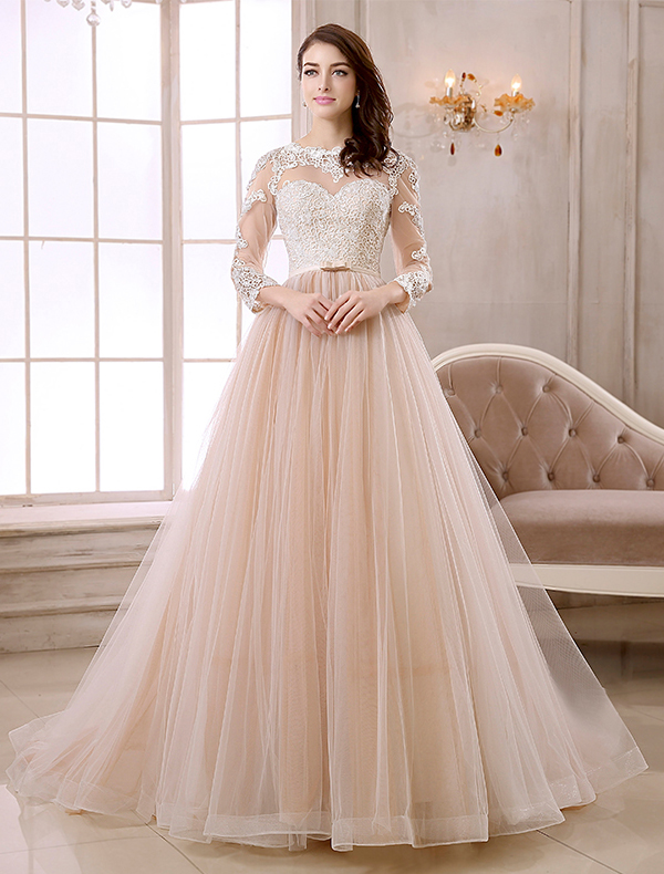 Elegant A-line Lace Neck Pierced Design 3/4 Sleeves Sash Champagne ...