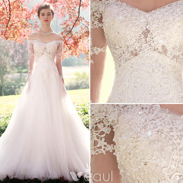 Elegant A-line Wedding Dresses 2017 Off The Shoulder Beading Applique Lace Bridal Gowns With Sleeves