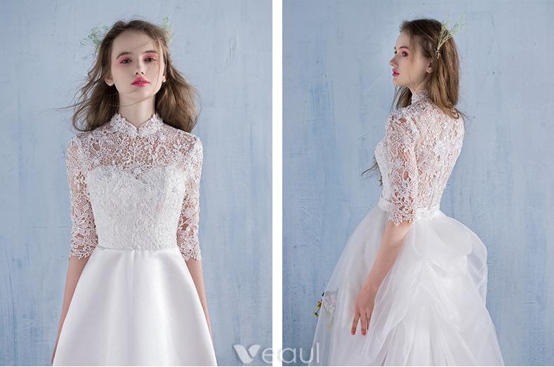 Elegant Beach Wedding Dresses 2016 A-line High Neck Lace Bridal Gown With Detachable Train