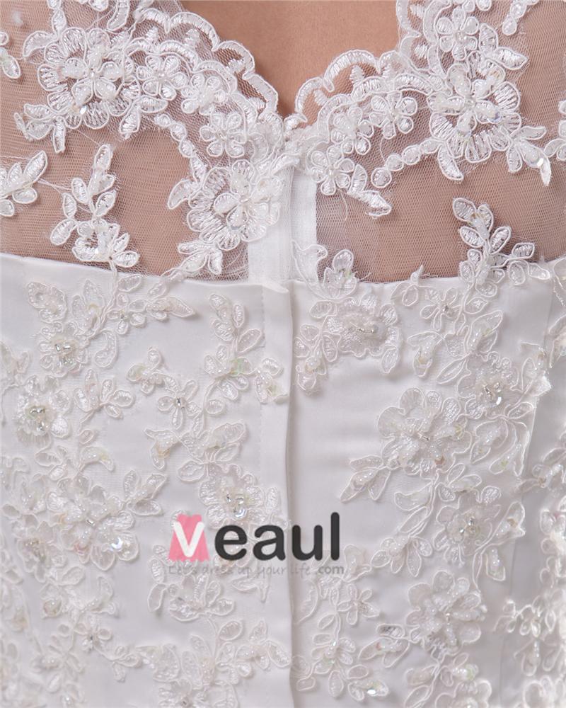 Elegant Jewel Floor Length Lace Satin Women A Line Wedding Dress