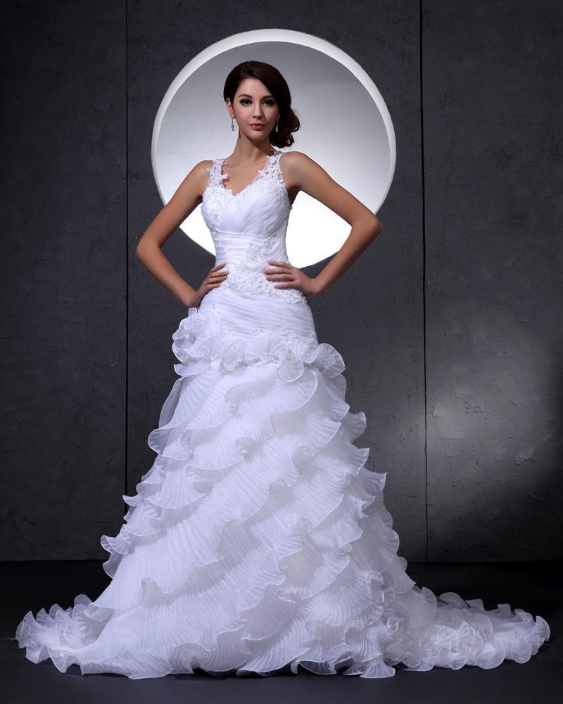 Elegant Lace Organza V Neck Flower Beading Cathedral Train Mermaid Bridal Wedding Dress