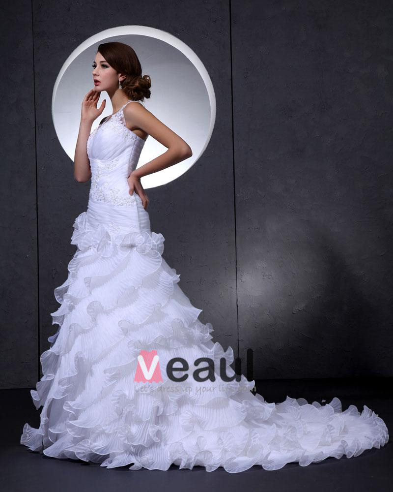 Mermaid Wedding Dress With Cathedral Train : Neck flower beading cathedral train mermaid bridal wedding dress