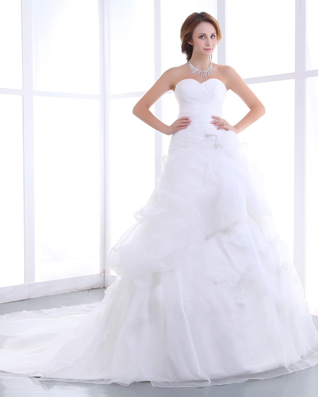 Elegant Mermaid Strapless Organza Satin A Line Wedding Dress