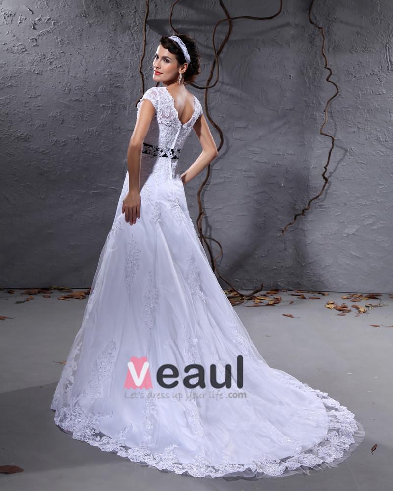 Gauze Applique Chapel Train A-line Wedding Dress
