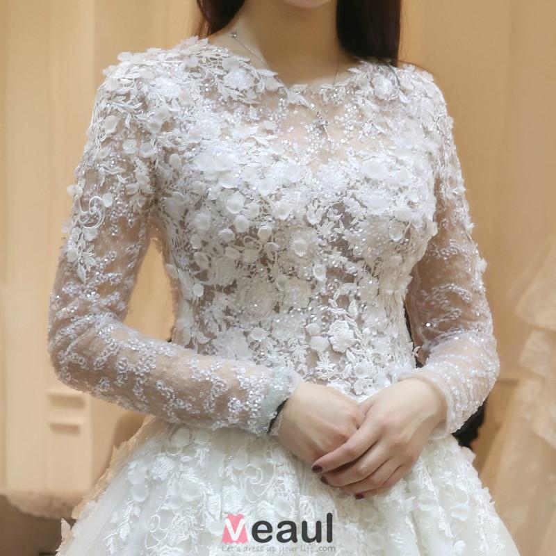 Wedding Dresses With Floral Applique : Gorgeous wedding dress applique lace flowers backless