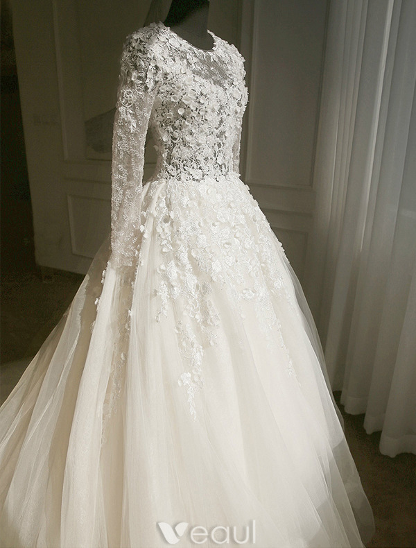 Wedding Dress Lace Flowers : Wedding dress applique lace flowers backless tulle bridal gown