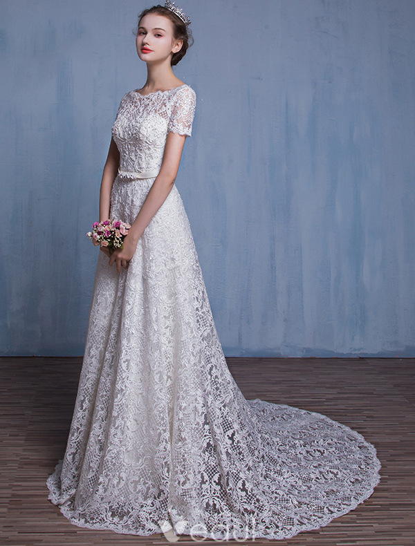 High-grade Wedding Dress A-line Beading White Lace Bridal Gown With Rhinestones Sash