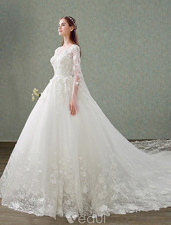 Princess Wedding Dresses 2017 Unique Sleeves Design Applique Lace Bridal Gowns With 1 M Train