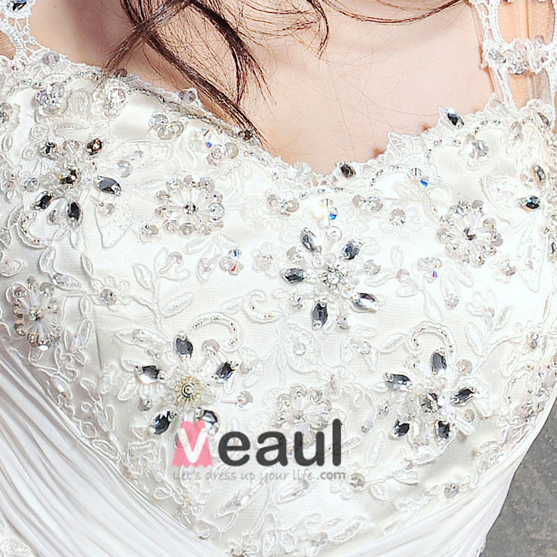 Satin Tulle Lace Beading Shoulder Straps Floor Length Cathedral Train A-Line Wedding Dress