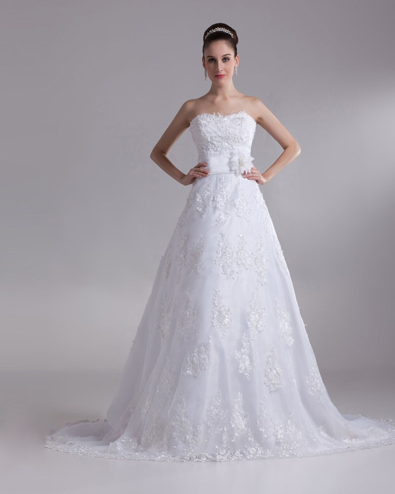 A Line Lace Wedding Dress : Stylish applique sweetheart floor length lace a line