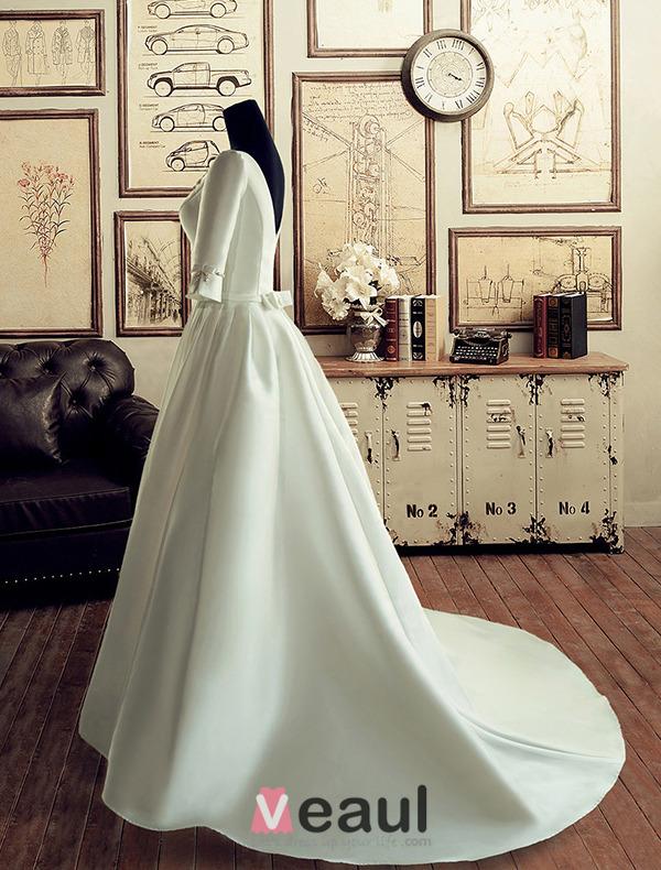 Vintage Palace Square Neckline Beading Pearl & Flower Backless White Satin Wedding Dress