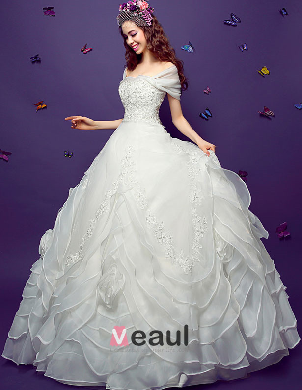 2015 Ball Gown Square Neckline Vintage Floor Length Organza Embroidered Wedding Dress