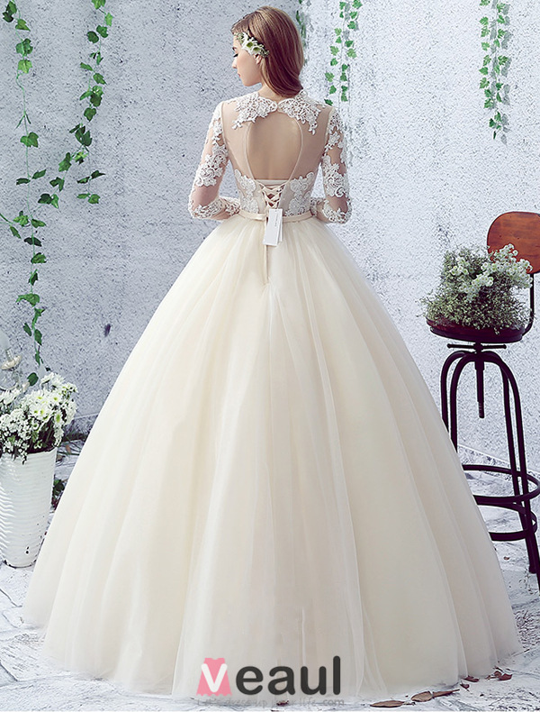 2016 Gorgeous Ball Gown Lace Neckline Pierced Design Backless ...