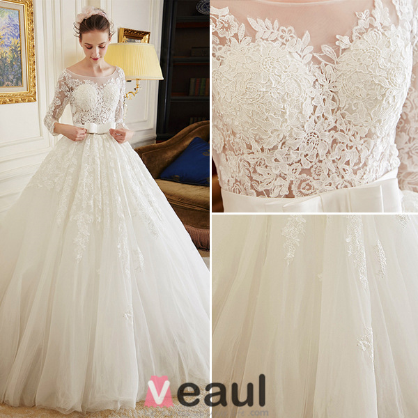 2016 Luxury Ball Gown Backless Soluble Lace Wedding Dress With Sash