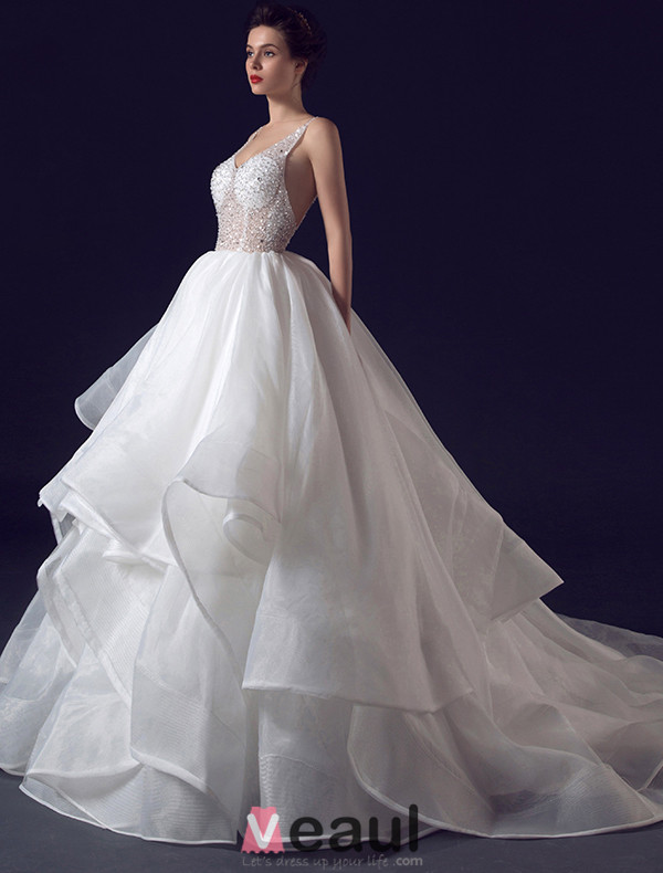 2016 Sexy Ball Gown V-neck Sequins Backless Cascading Ruffles Wedding Dress