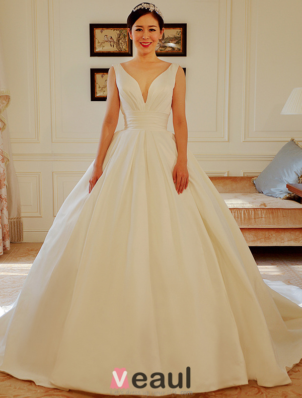 Wedding Dresses V Neck Uk 49