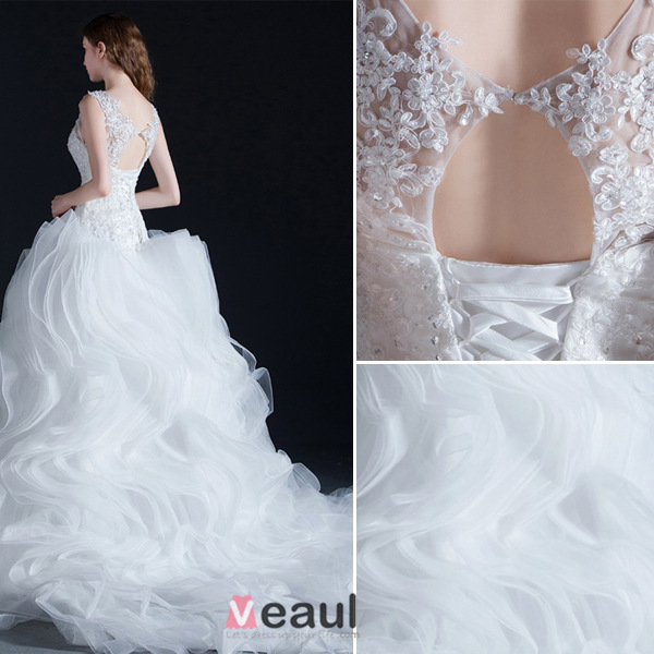 Ball Gown Scoop Neck Cascading Ruffle Organza Wedding Dress With Lace