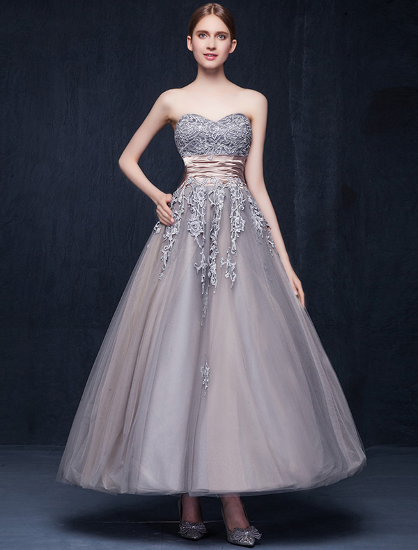 Ball Gown Sweetheart Appliques Lace Ruffle Sash Organza Unique Color Wedding Dress