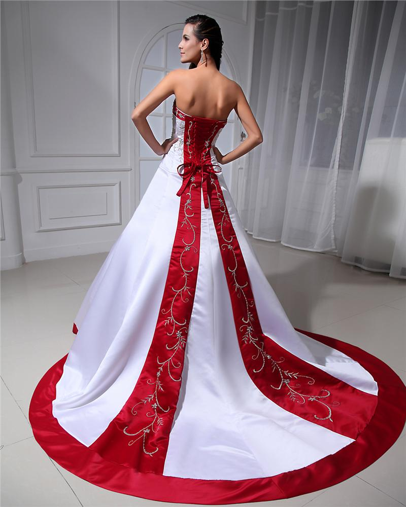 Ball-Gown Sweetheart Court Train Satin Wedding Dress With Embroidered Beading Sequins