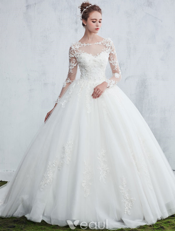 Images Of Wedding Dresses 2017 : Beautiful wedding dresses scoop neck applique lace white tulle bridal gowns