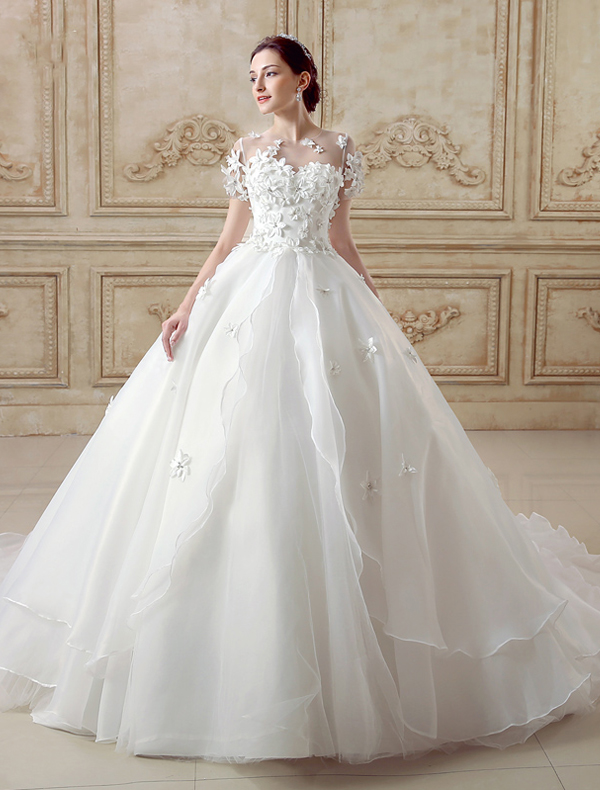 Ball Gown Wedding Dresses With Short Sleeves : Elegant ball gown wedding dress short sleeves