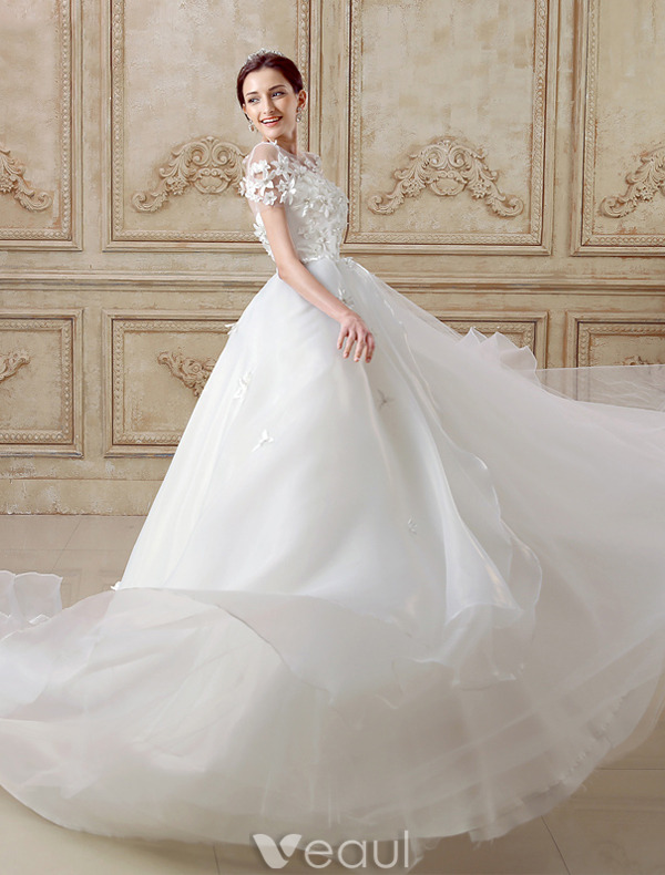 Elegant Ball Gown Wedding Dress 2016 Short Sleeves Backless Handmade Flowers