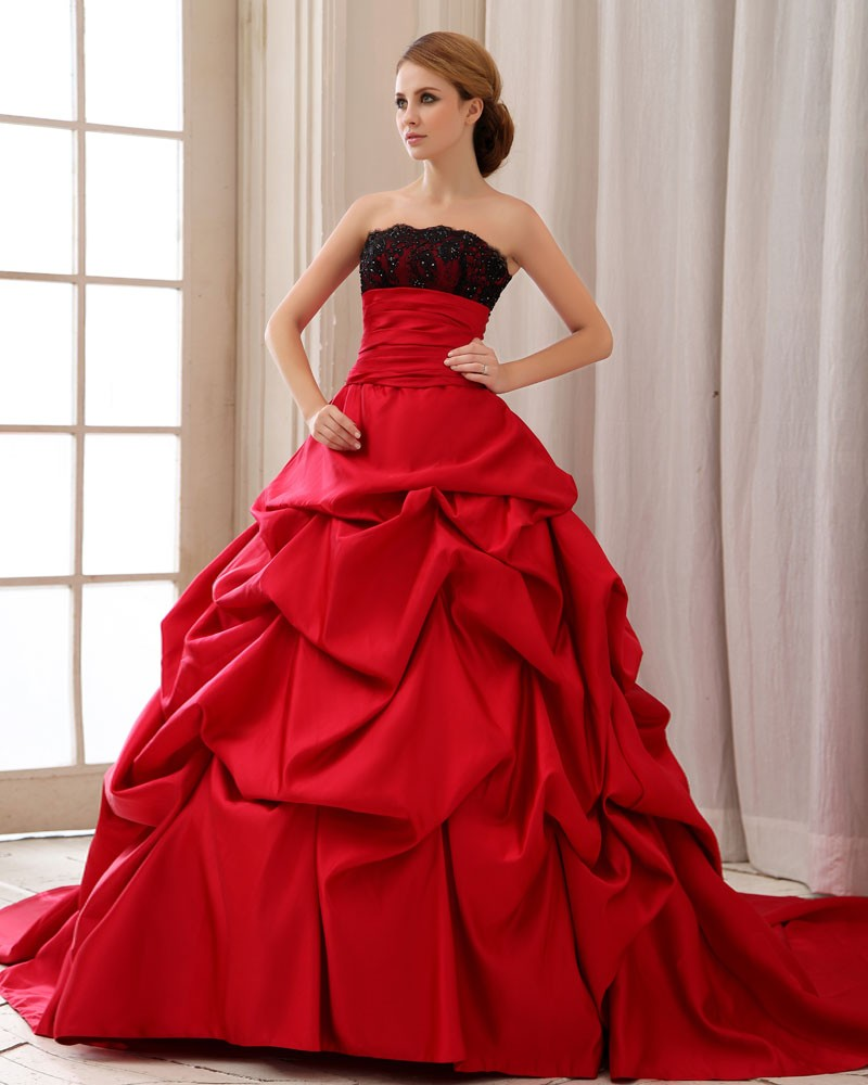 Ball Gown Wedding Dresses With Lace Back : Elegant ruffle strapless back lace up court train satin