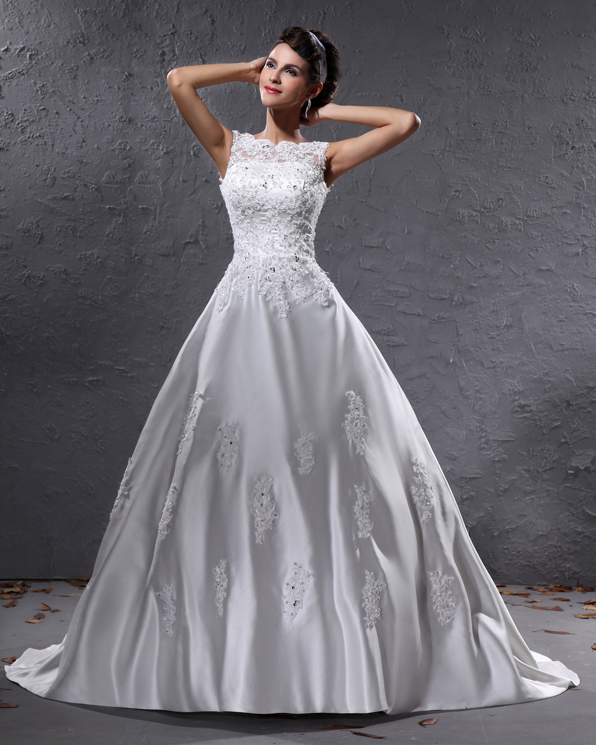Elegant Satin Beaded Applique Bateau Floor Length Court Train Ball Gown Wedding Dress