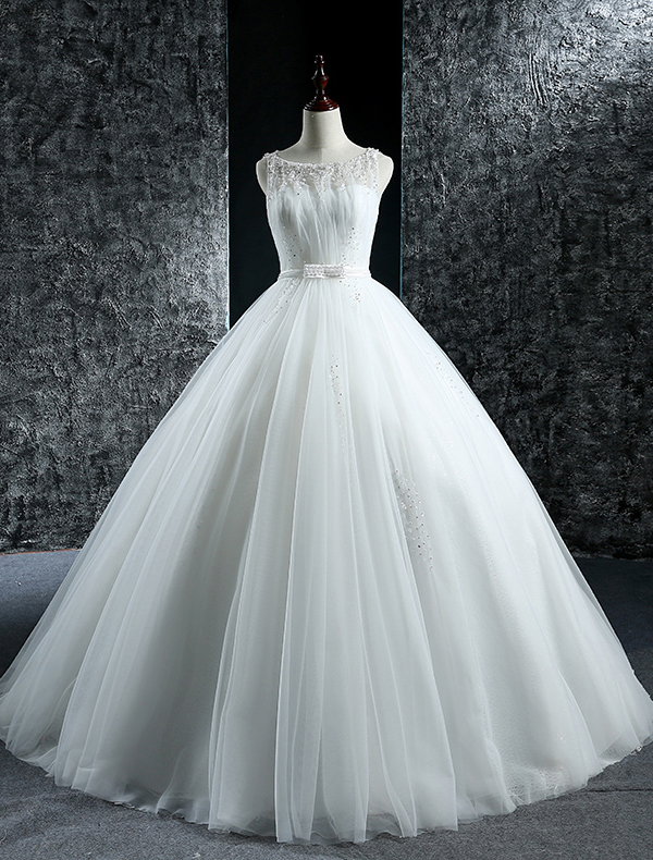 Elegant Wedding Dresses 2016 Ball Gown Scoop Neck Beading Sequins Pearls Ruffle Tulle Backless