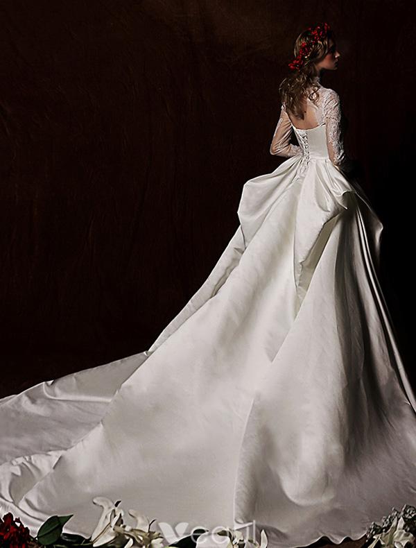 Elegant Wedding Dresses 2016 Vintage Lace Neckline Ivory Ruffle Satin Wedding Dress With Long Tailing