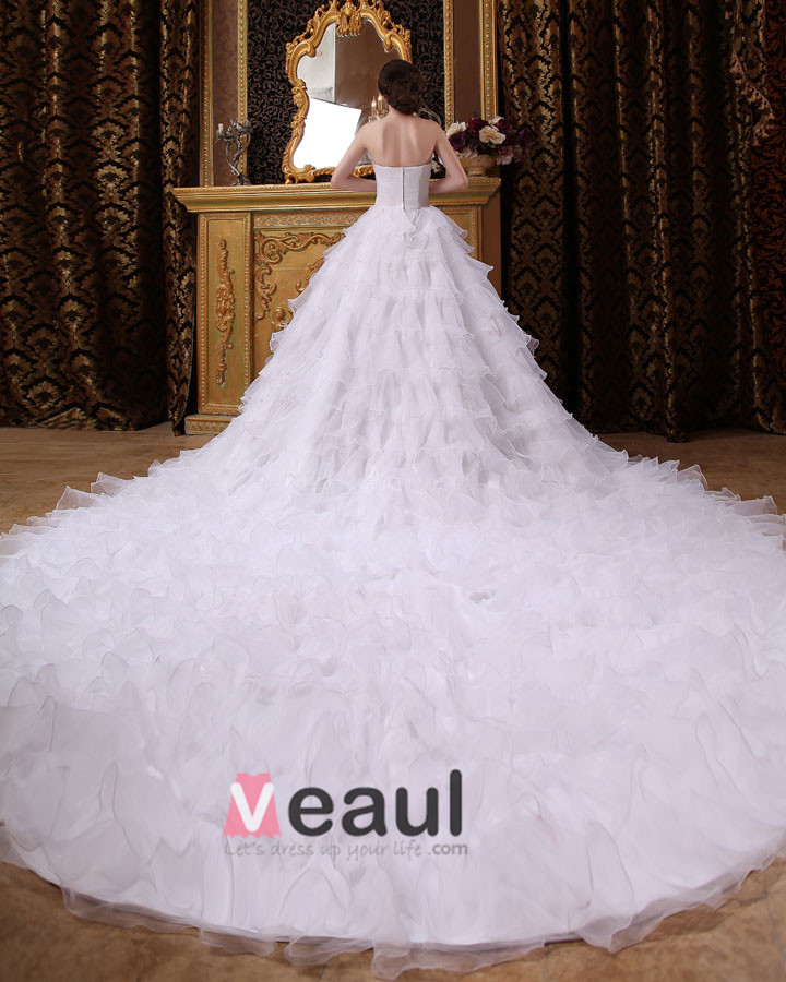 Fashionable Long Ruffle Cathedral Empire Bridal Gowns Wedding Dress