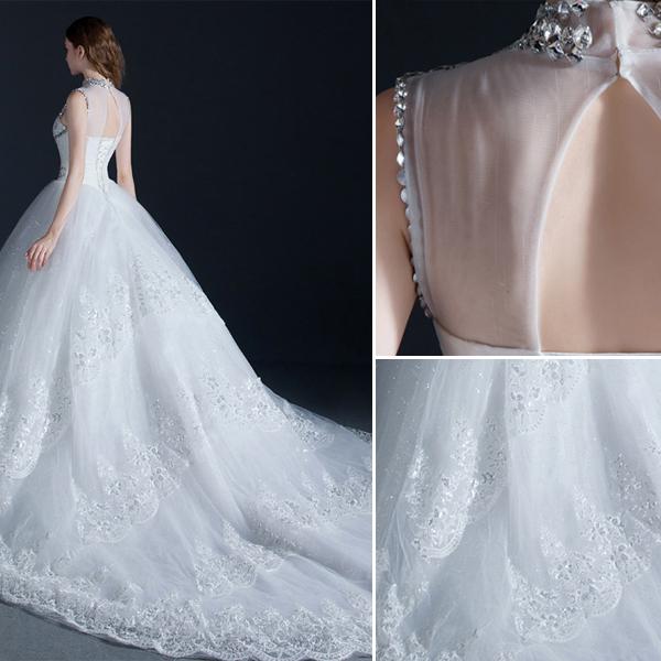 Luxury High Neck Beading Crystal Sequins Ruffle Organza Ball Gown Wedding Dress