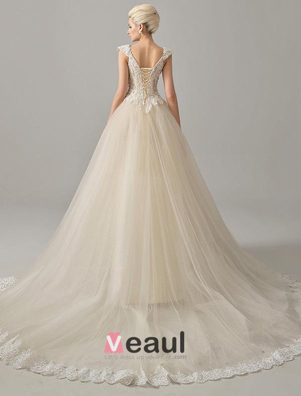 Luxury Square Neckline Beading Corset Ball Gown Champagne Organza Wedding Dress