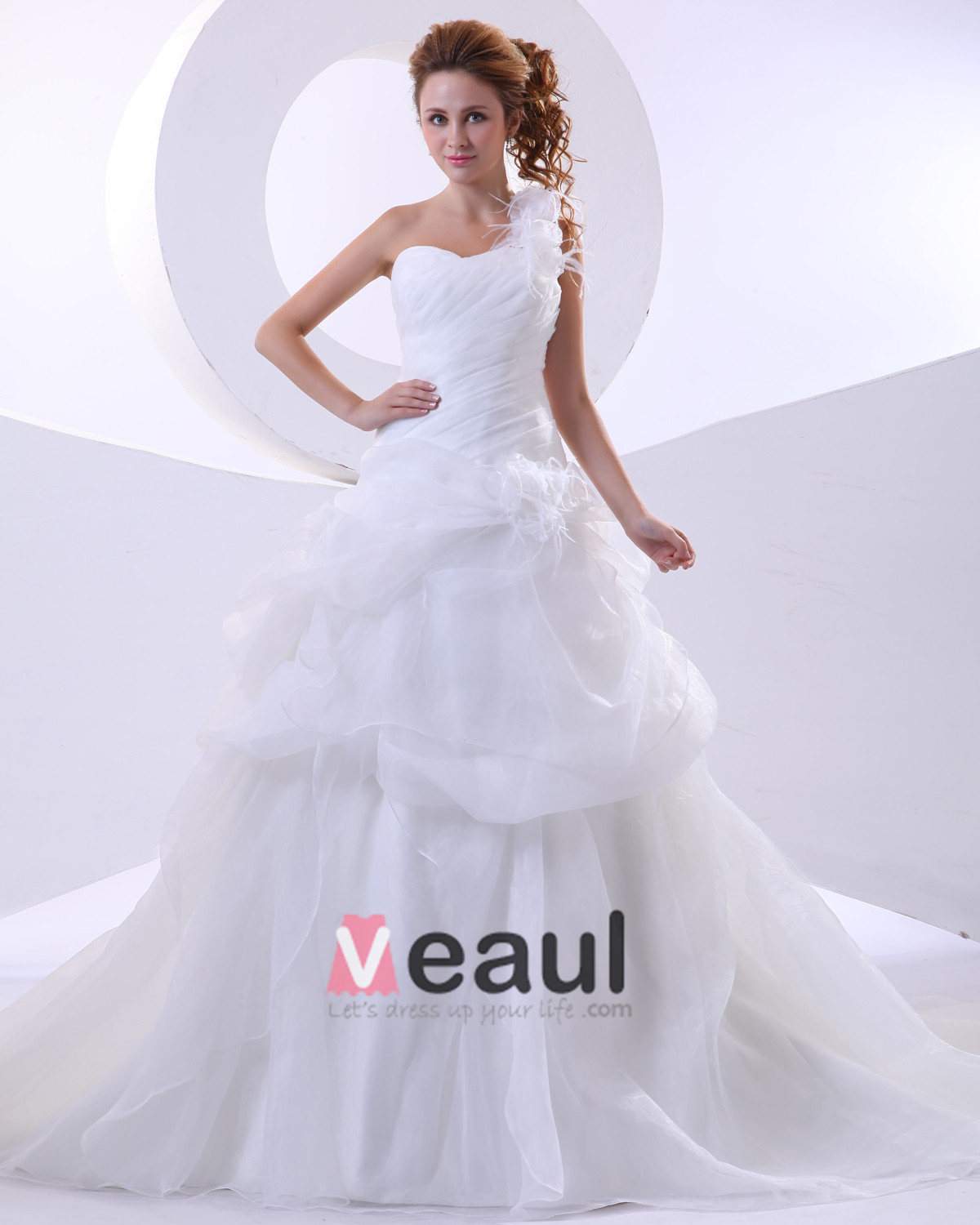Organza One Shoulder Ruffle Hand Flower Court Bridal Ball Gown ...