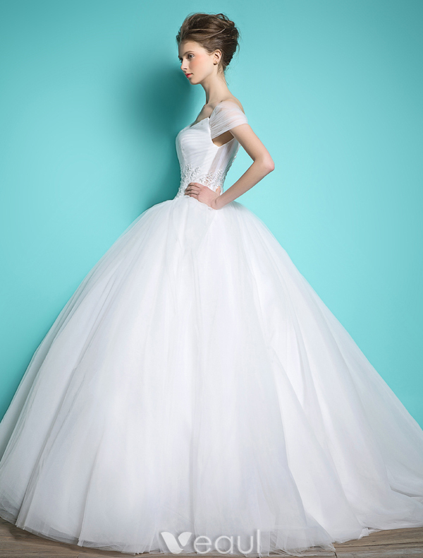 Princess Wedding Dresses 2016 Ball Gown V-neck Cap Sleeves Ruffle Tulle Backless Bridal Gown
