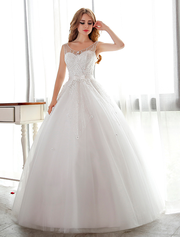 Sparkly White Wedding Dress Ball Gown Flower Bridal Dress With Rhinestone And Sequins