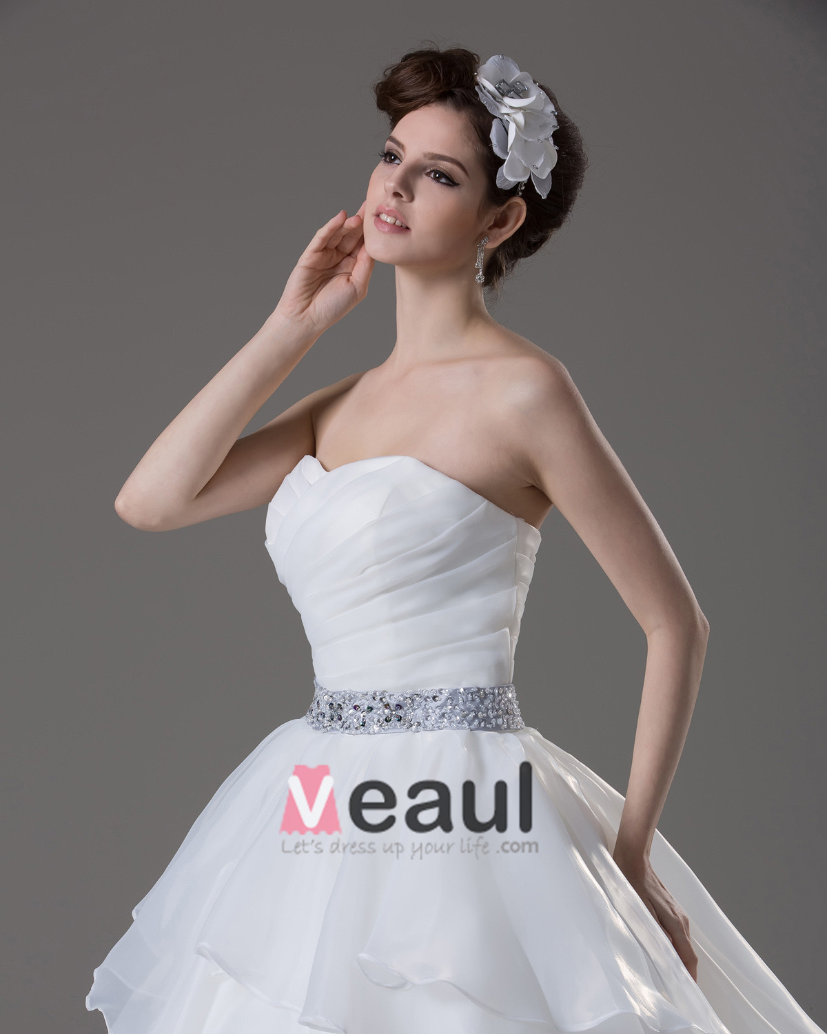 Sweetheart Beading Pleated Floor Length Yarn Ball Gown Wedding Dress