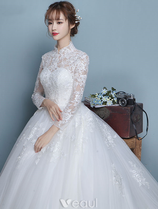 Wedding Dresses With Lace Sleeves 2017 : Vintage wedding dresses high neck long sleeves
