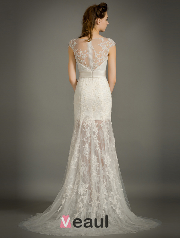 Beautiful Empire Square Neckline Applique Lace Bridal Dress With Sash