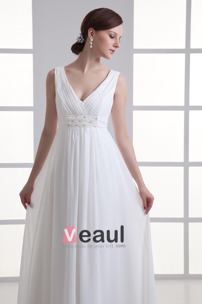 Chiffon Ruffle Beading V Neck Floor Length Empire Wedding Dress