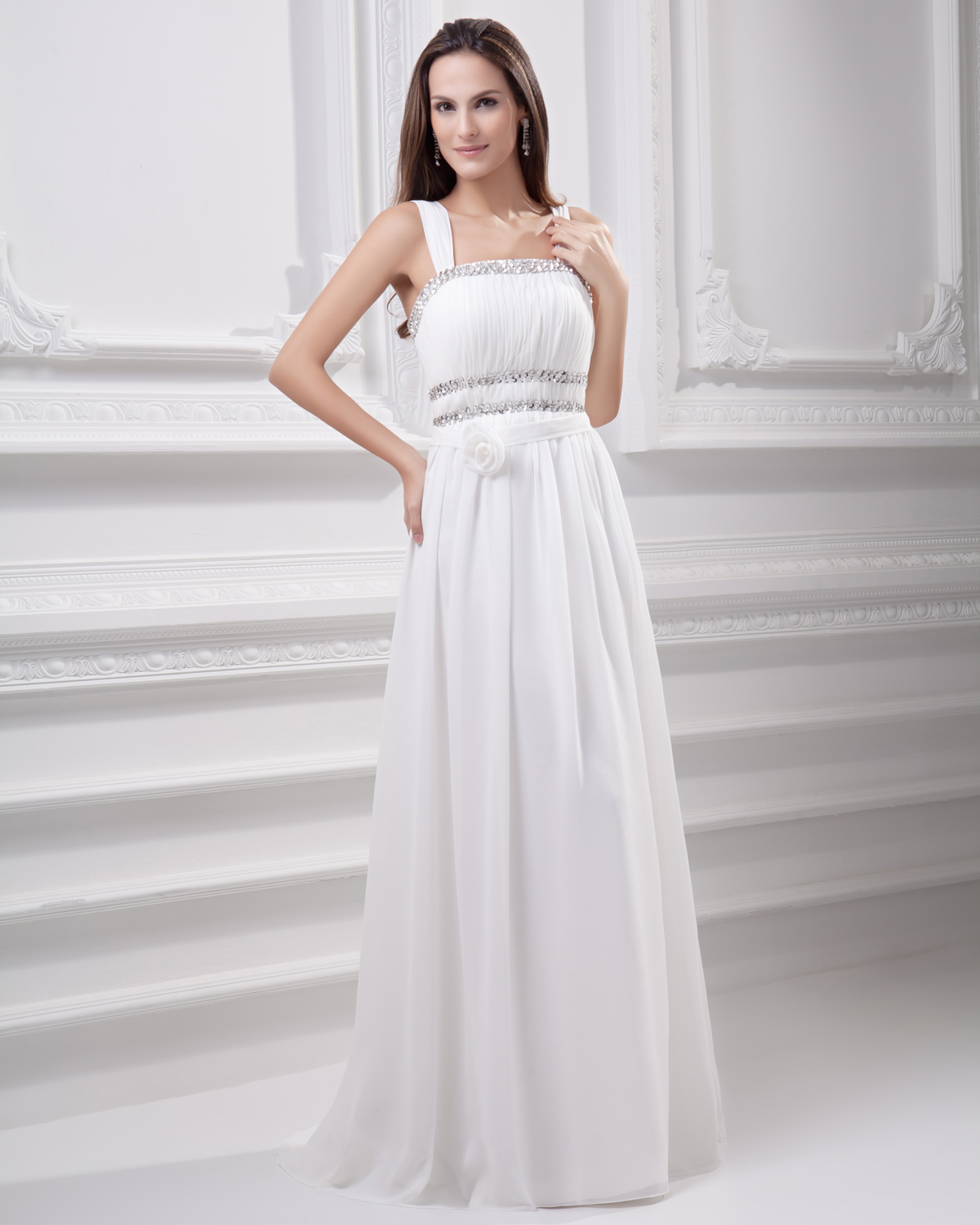 Spaghetti Straps Floor Length Beading Pleated Chiffon