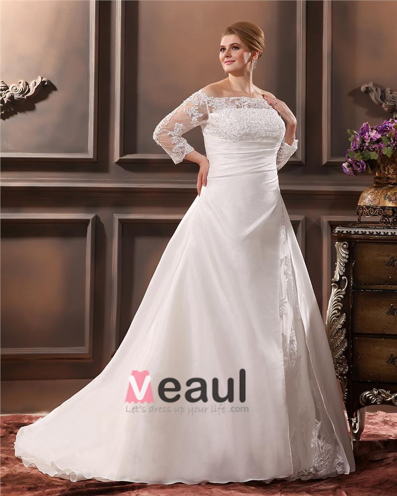 Beautiful Off-The-Shoulder Cathedral Train Taffeta Lace Plus Size ...