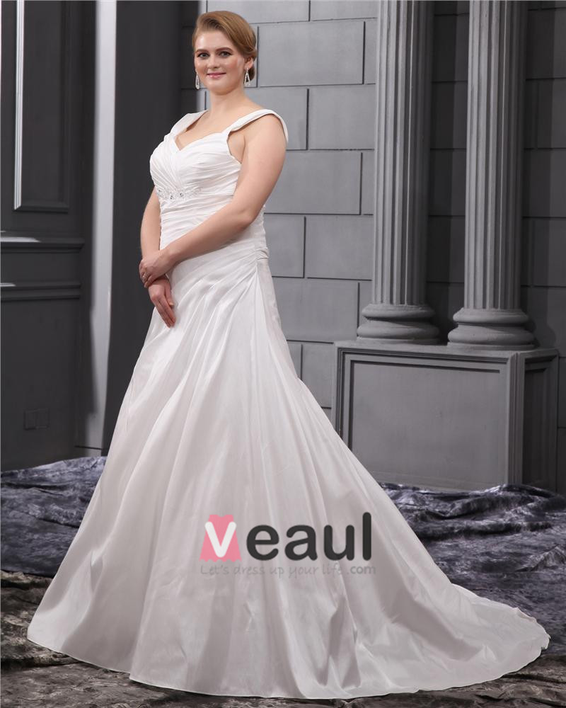 Rhinestone Ruffle Shoulder Straps Court Plus Size Bridal Gown Wedding Dress