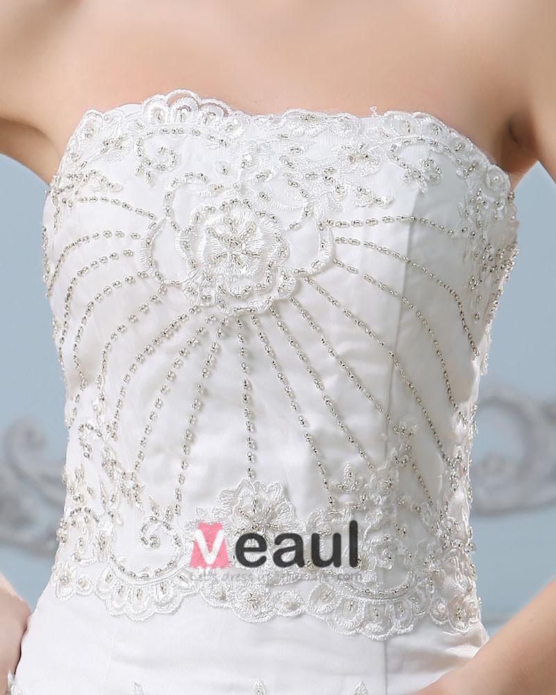 Embroidery Beading Strapless Chapel Train Satin Sheath Wedding Dress