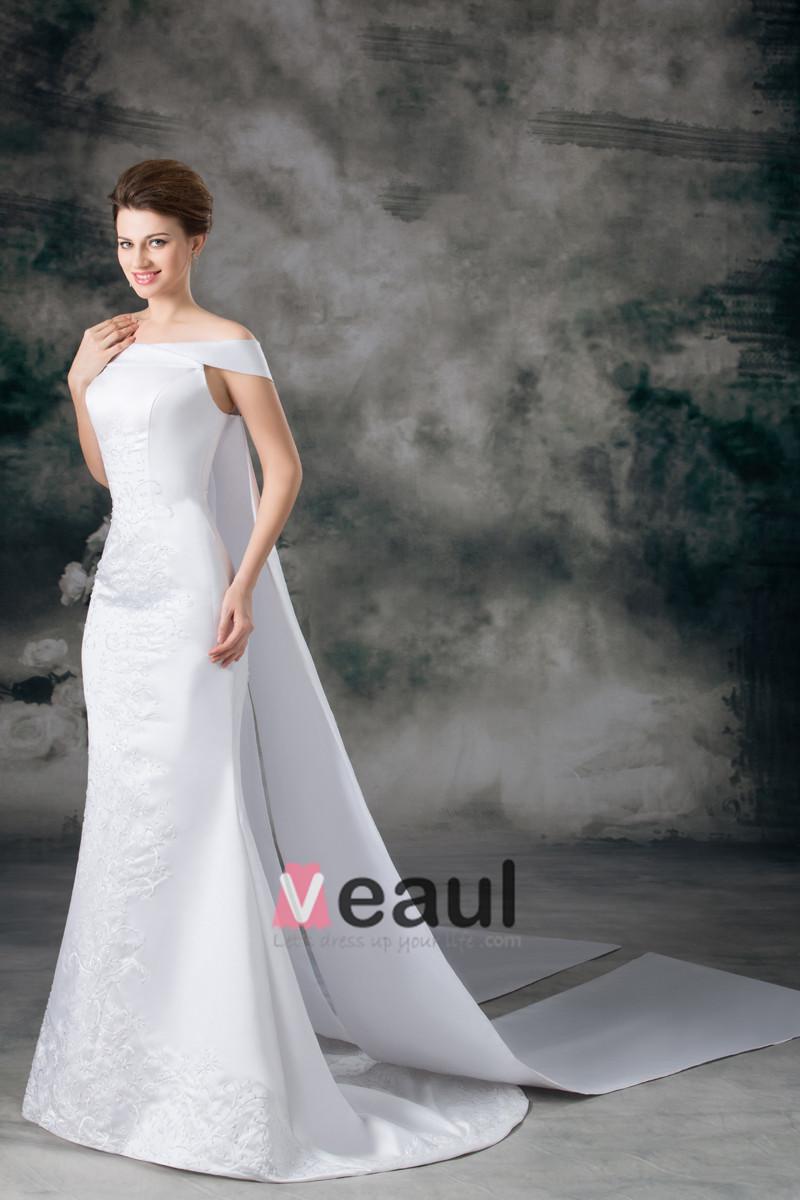 simple satin court train wedding dress with short sleeves train wedding dress in Chic Simple Wedding Dresses