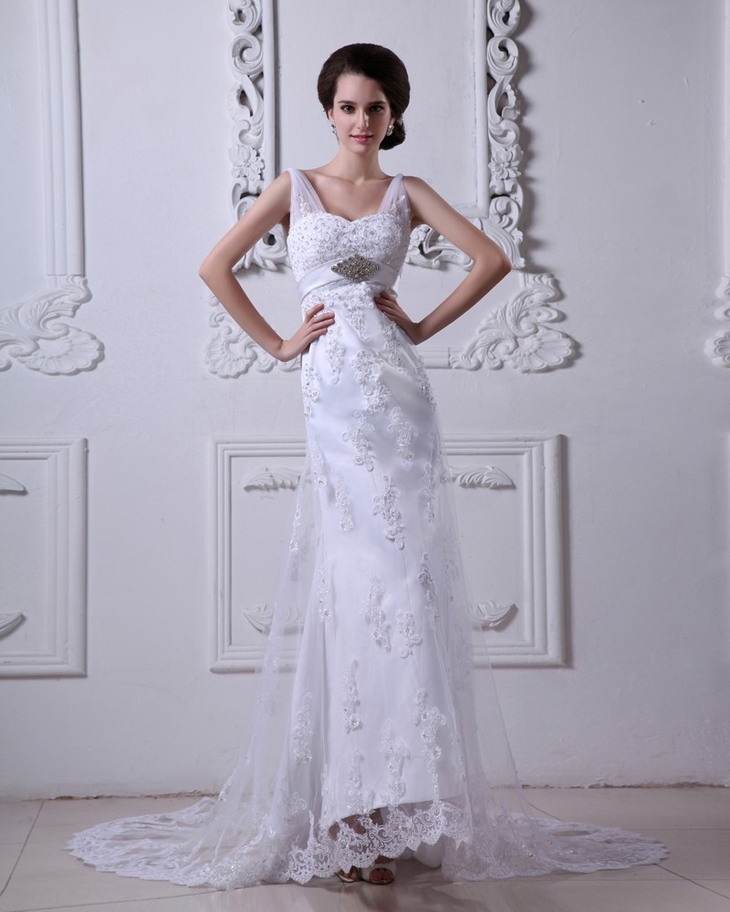 Satin Tulle V Neck Applique Beading Court Sheath Bridal Gown Wedding Dress 1414120047