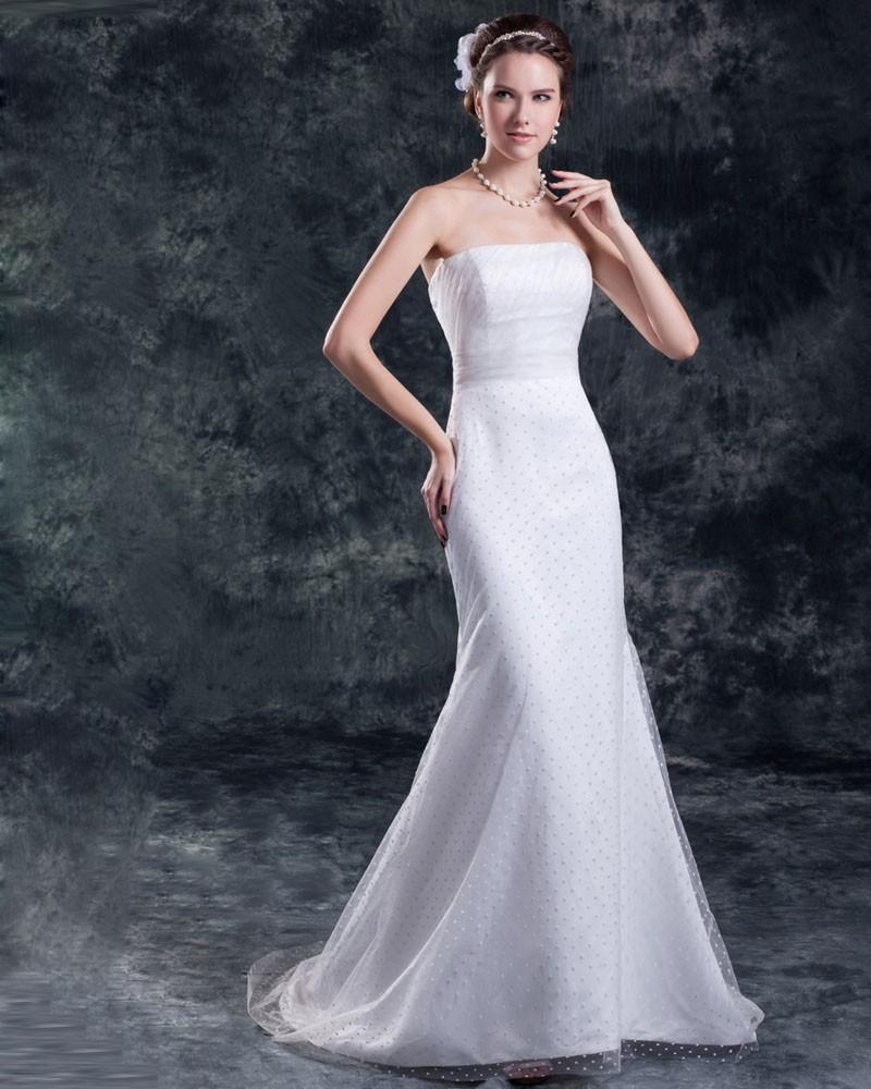 Tulle Strapless Floor Length Mermaid Sheath Wedding Dress 1414120081 Veau