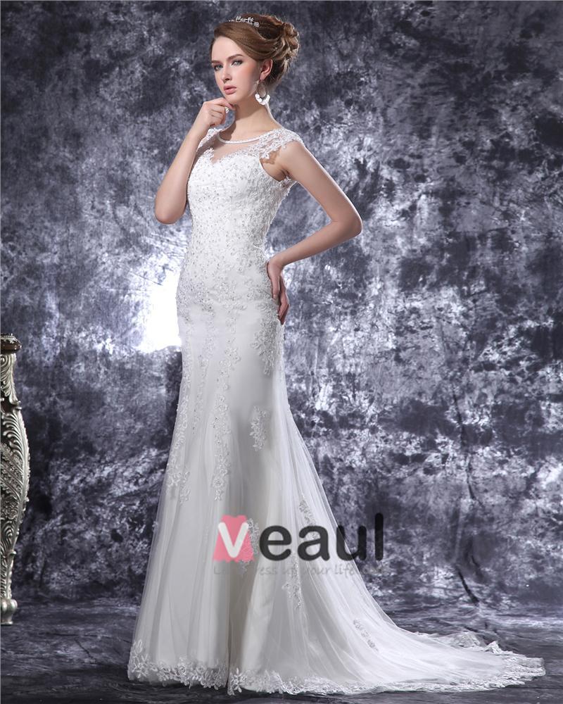 V Neck Beading Applique Floor Length Satin Sheath Wedding Dress 1414120084